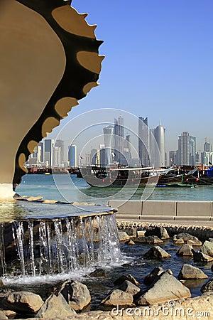 Doha fountain, harbour and skyline