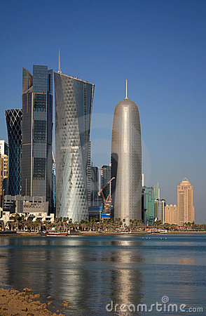 Doha Office Tower, by Jean Nouvel,in Doha, Qatar Editorial Stock Image