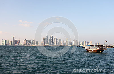 Doha skyline and dhow end 2012
