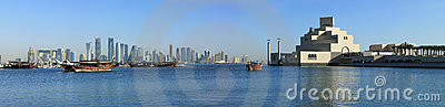 Doha skyline dhows and museum