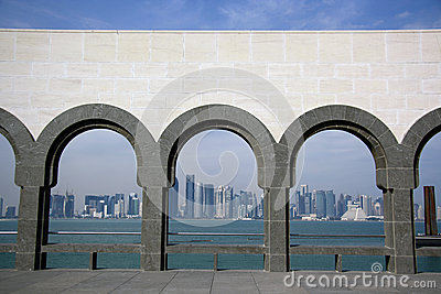 Doha skyline from the Museum of Islamic Art Editorial Photo