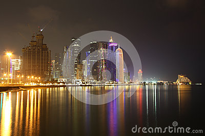 Doha skyline at night Editorial Photography