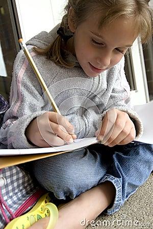 Doing her school work