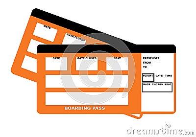 Dois bilhetes da passagem de embarque da linha aérea