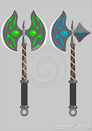 Dois machados isolados da batalha