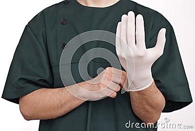 Doktor mit Handschuh