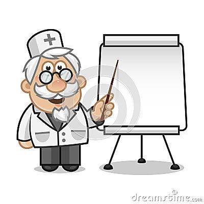 Doktror points on a flip chart