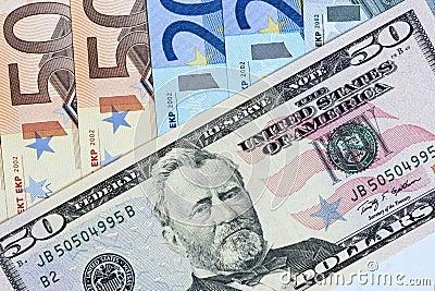 Dolar over euro concept