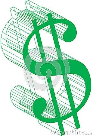 Dolarowego znaka wireframe