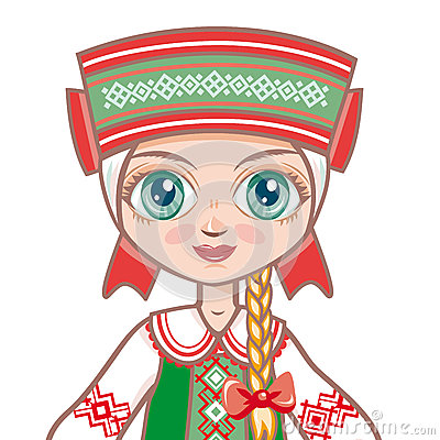 Doll in the Belarusian suit. Historical clothes .Portrait, avatar