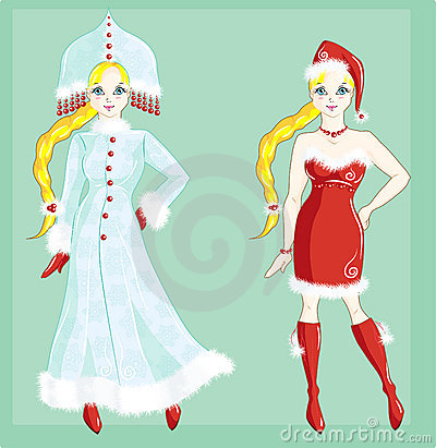 Doll dressed as Snow Maiden and Santa Claus girl