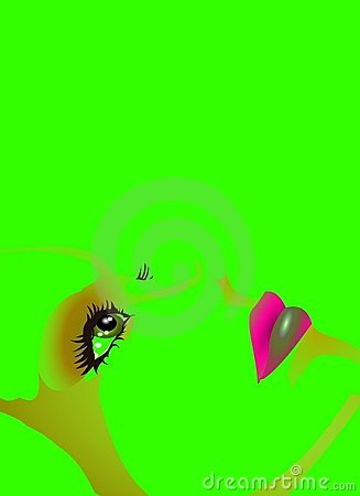 DOLL FACE BACKGROUND on GREEN