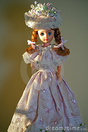 Doll in handmade pink dress