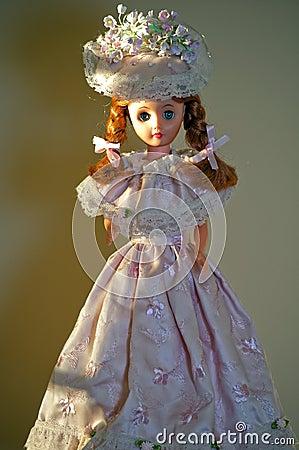 Doll in handmade pink dress