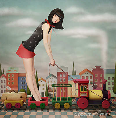Free Doll On The Toy Train Stock Photo - 18588860