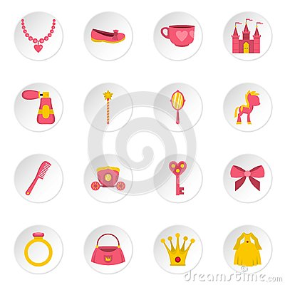 Doll princess items icons set in flat style Vector Illustration