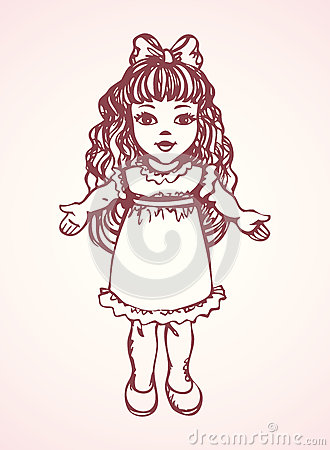 Free Doll. Vector Drawing Royalty Free Stock Photography - 69171327
