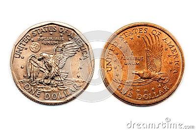 Dollar américain de comparaison de pièce de monnaie