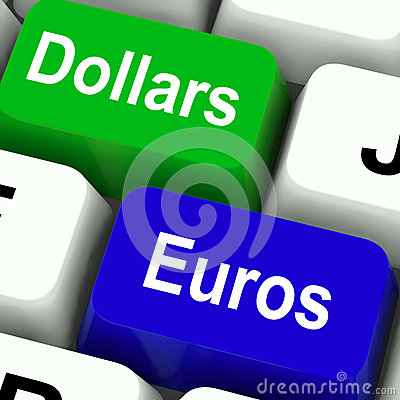 Free Dollar And Euros Keys Mean Foreign Currency Stock Photography - 38122932
