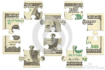 Dollar bank note money puzzle