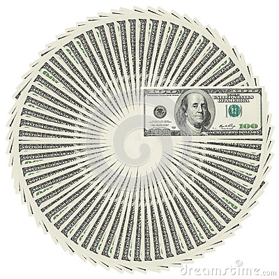 Dollar bank notes circle stack