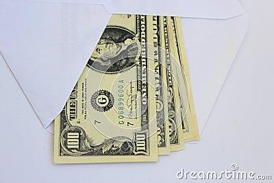 Dollar bank notes in envelope