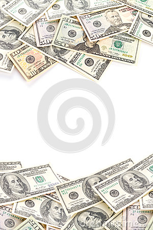 Dollar banknotes isolated over white