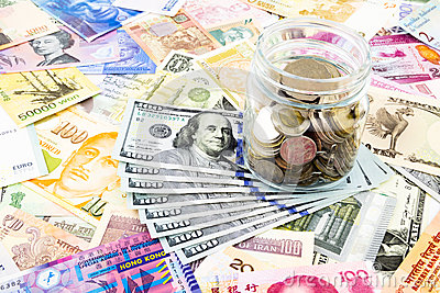 Dollar banknotes and world currency