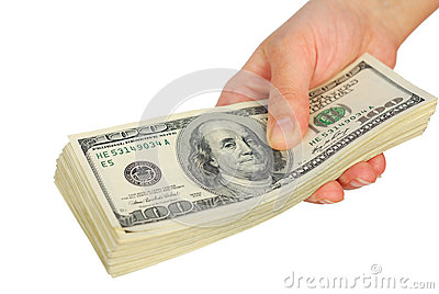 Dollar bank note money in the hand