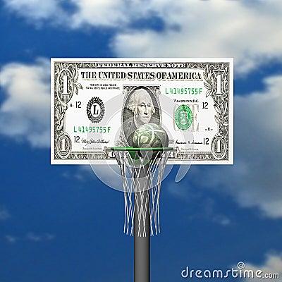 Dollar basketball board, ring, grid and ball