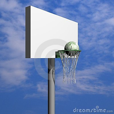 Dollar basketball board, ring, grid and ball
