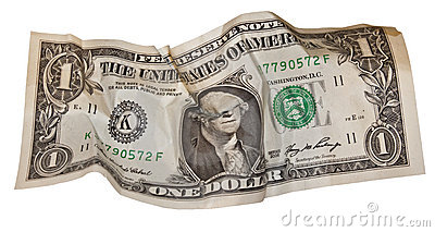 Dollar bill all screwed up