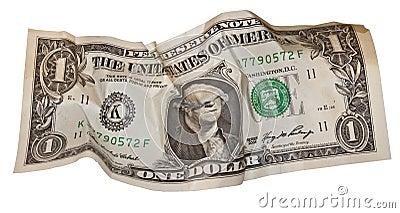 Dollar bill all screwed up
