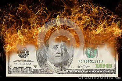 100 Dollar bill on fire