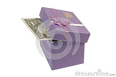 Dollar bill in a gift box