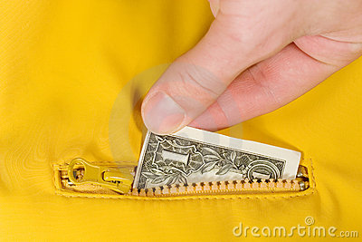 Dollar bill inside a pocket