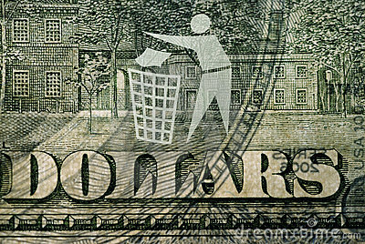 Dollar bill with a logo Trash