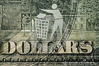 Dollar bill with a logo Trash