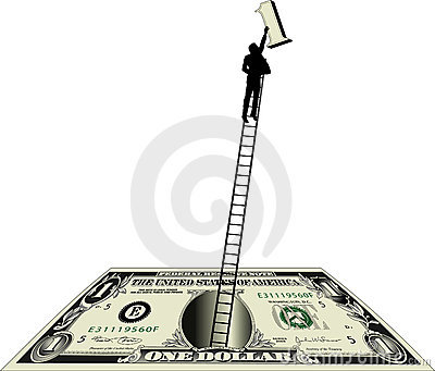 Dollar bill with man on ladder