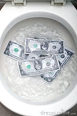 Dollar bills being flushed
