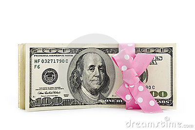 Dollar bills with a bow