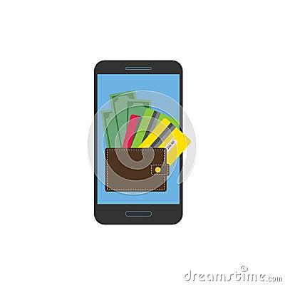 Dollar bills, card and wallet on smartphone Vector Illustration