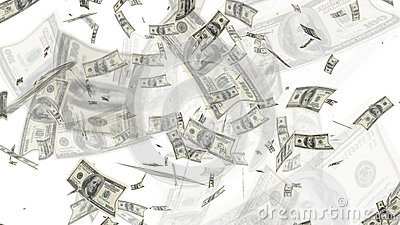 $100 Dollar Bills Flying Background