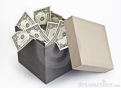 Dollar bills in open box
