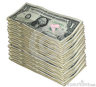 Dollar bills and pills
