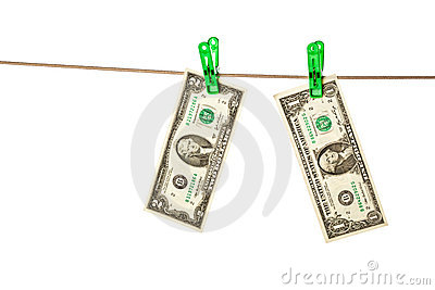 Dollar bills pinned to a clothesline