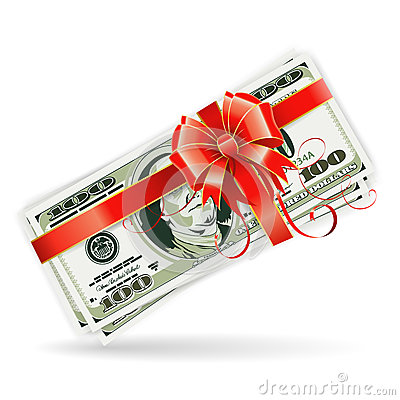 Dollar Bills with Ribbon and Bow
