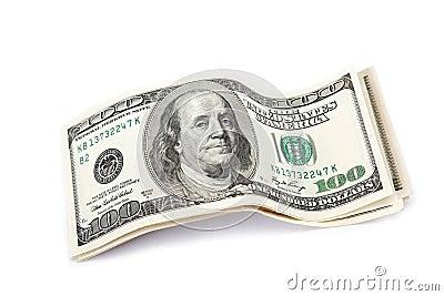 Dollar bills  on white.