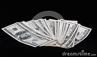 Dollar on a black