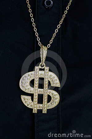 Dollar bling necklace hanging
